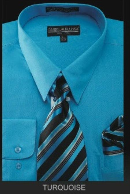 SKU#TU7901 Mens Dress Shirt - PREMIUM TIE - turquoise ~ Light Blue Stage Party