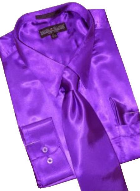 Fashion Cheap Priced Sale Satin Purple Dress Shirt Combinations Set Tie Hanky Men's Dress Shirt