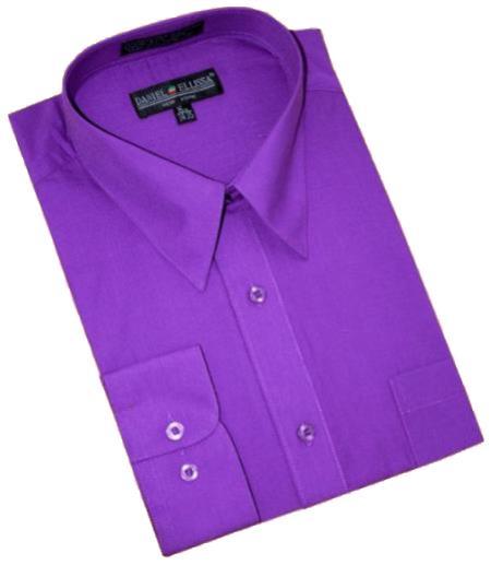 Purple Cotton Blend Convertible Cuffs Men's Dress Shirt