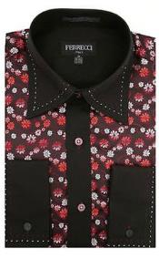Mens Two Toned Lay Down Collar Microfiber Solid Accents Multi-colored Floral Design Dress Shirt Red