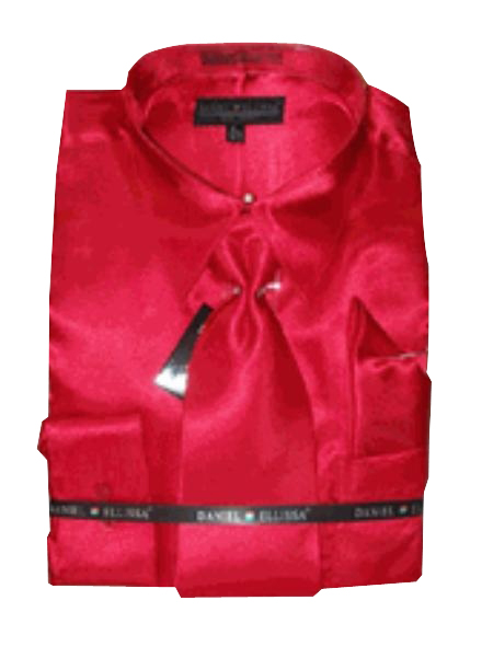 Fashion Cheap Priced Sale Mens New Red Satin Dress Shirt Combinations Set Tie Combo Shirts Mens Dress Shirt