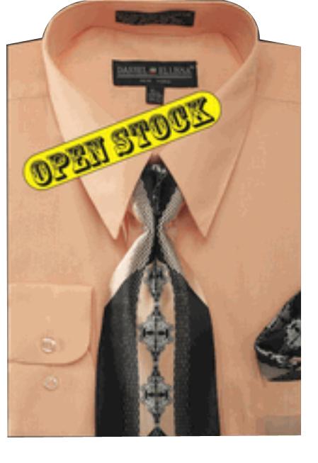 Men's Basic Dress Shirt with Tie and Hanky Set Men's Dress Shirt