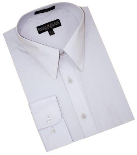 Silver Grey Cotton Blend Convertible Cuffs Men's Dress Shirt