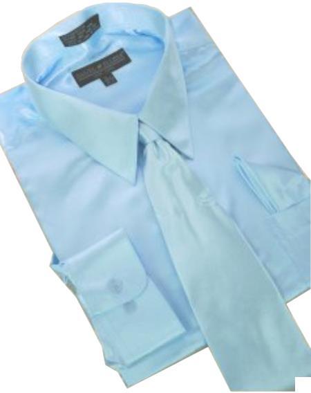 Fashion Cheap Priced Sale Satin Light Blue ~ Sky Blue Dress Shirt Combinations Set Tie Hanky Men's Dress Shirt