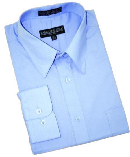 Light Blue ~ Sky Blue Cotton Blend Convertible Cuffs Men's Dress Shirt