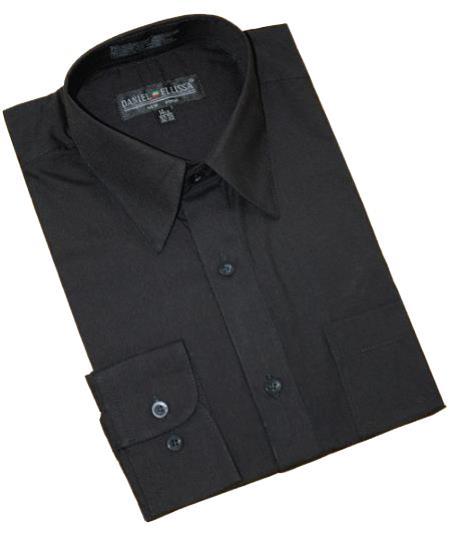 Solid Black Cotton Blend Dress Shirt With Convertible Cuffs Men's Dress Shirt