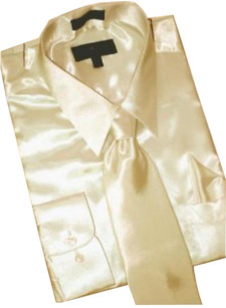 Fashion Cheap Priced Sale Satin Tan ~ Beige Dress Shirt Combinations Set Tie Hanky Men's Dress Shirt