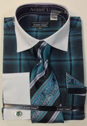 Avanti Uomo French Cuff  Windowpane Dress Shirt Set With Tie, Hanky and Cuff Links Teal 18 19 20 21 22 Inch Neck Mens Dress Shirt