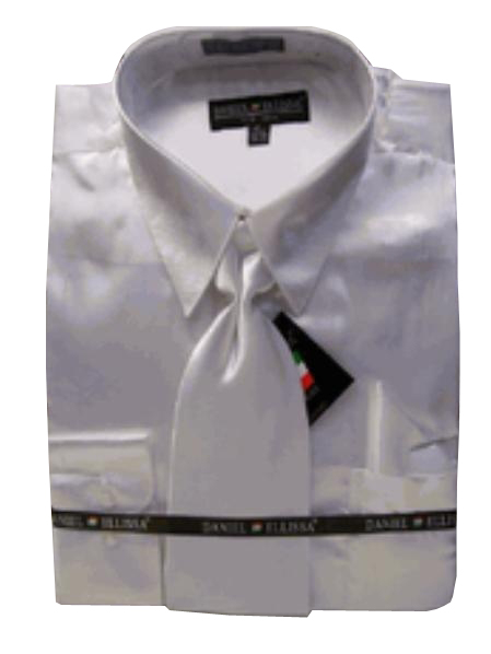 Fashion Cheap Priced Sale Mens New White Satin Dress Shirt Tie Combinations Set Mens Dress Shirt