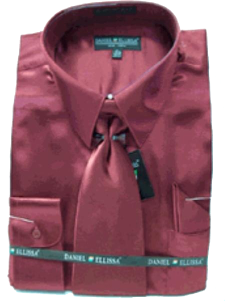 Product# LJ342 New Wine/Burgundy ~ Maroon ~ Wine Color Satin Dress Shirt Tie Combo Shirts