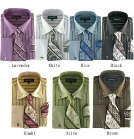 Classic Strip Set, W/ Tie And Handkerchief - 7 colors Mens Dress Shirt With Tie