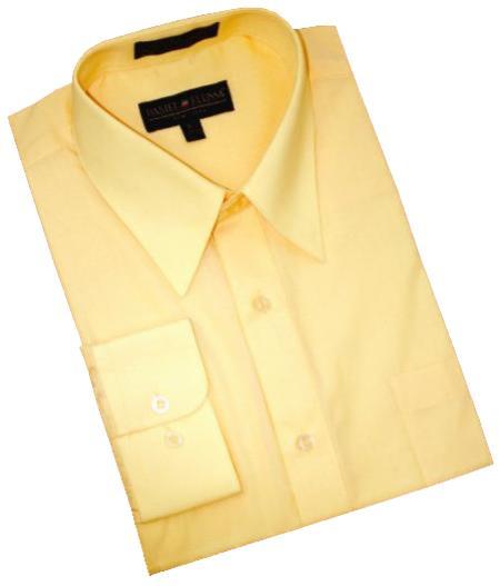 Solid Canary Yellow Cotton Blend Dress Shirt With Convertible Cuffs Men's Dress Shirt
