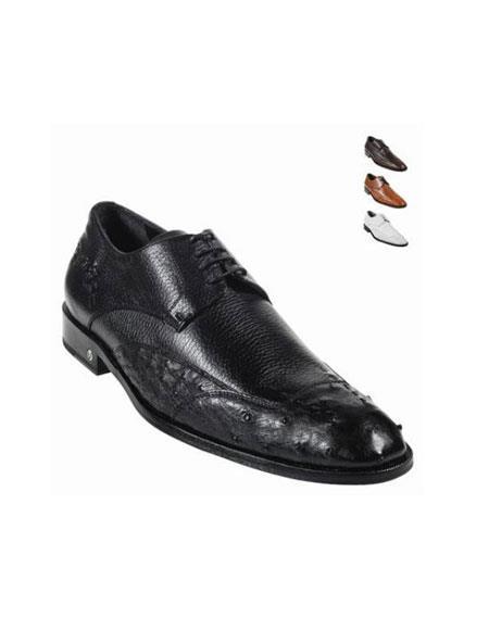 Ostrich Skin Dress Shoe – Black