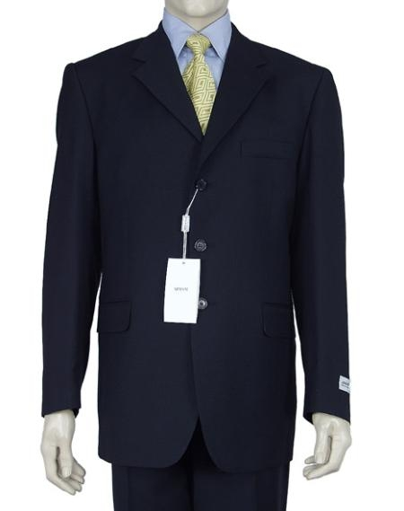 SKU# W199 Mens Dress Single Breasted Dark Navy Blue 3 Buttons Double Vent Super 150s Suit