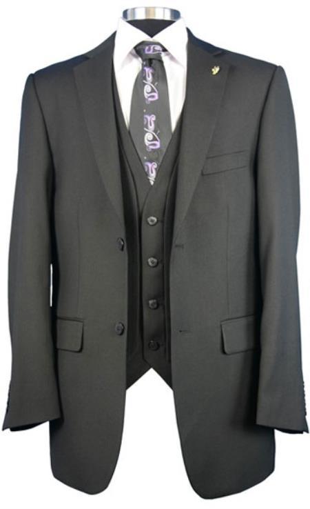 Mens Falcone side vents Big Size Fashion Dress Suit Burt Vested Black