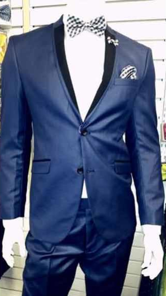 Shiny Dark Navy ~ Dark Royal Blue Tuxedo 2 Button Black Lapel Slim Dress Suits for Men ( Tuxedo Looking Two Toned )