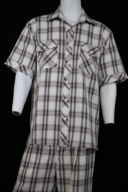 Men's Dual Pocket Short Sleeve Black Scottish Crosshatch Pattern