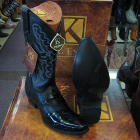 Buy MK909 Mens King Exotic Snip Toe Genuine Eel Western Cowboy Black Boot