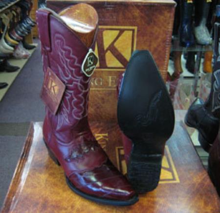 Buy MK958 Mens Genunie Eel King Exotic Snip Toe Western Cowboy Burgundy Boot