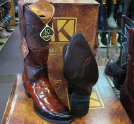 Mens King Exotic Cowboy Style By los altos botas For Sale Genuine Eel Cognac Snip Toe Western Cowboy Dress Cowboy Boot Cheap Priced For Sale Online~ botines para hombre