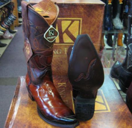 Buy MK934 Mens King Exotic Genunie Eel Cognac Snip Toe Western Cowboy Boot