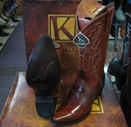 Buy MK952 Mens Genunie Eel King Exotic Snip Toe Western Cowboy Cognac Boot