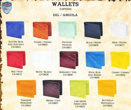 Mens Genuine Exotic Animal Skin Men's Genuine Eel Single-Fold Wallets Different Colors Available