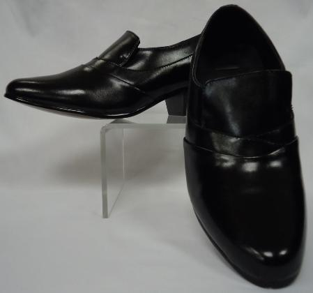 SKU#CBL6419 Mens Elegant Black Leather Cuban Heel Slip On ~ Loafer Shoes