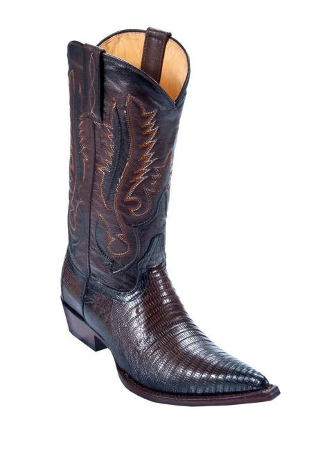 Men's Los Boots  Altos Genuine Teju Lizard Dress Cowboy Boot Cheap Priced For Sale Online  With Cowboy Heel Faded Black