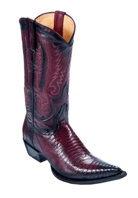 Mens Los Altos Genuine Teju Lizard Faded Burgundy ~ Wine ~ Maroon Color Dress Cowboy Boot Cheap Priced For Sale Online With Cowboy Heel