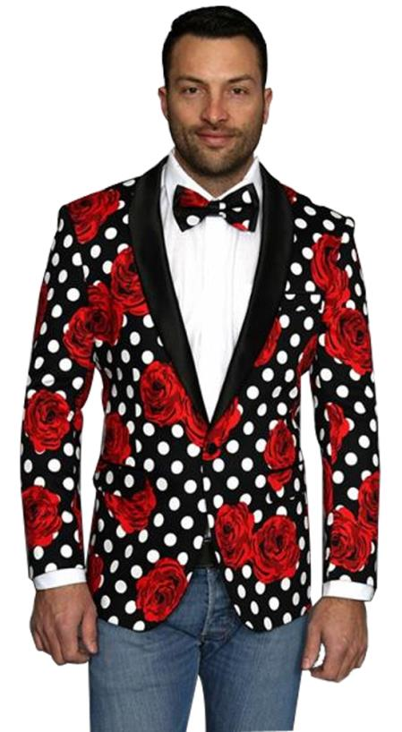 Mens Fashion Flower floral print / Prom / Wedding Black Shawl Lapel Sport Coat Blazer