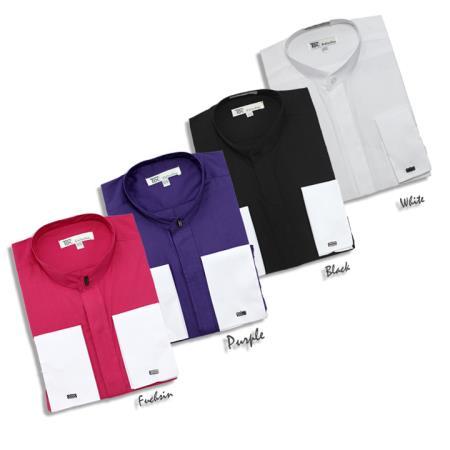 SKU#NG2837 Mens Fashion Hidden Button French Cuff Mandarin Collarless Dress Shirt