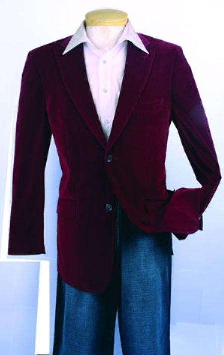 SKU#HR639 Men's Fashion Sport Coat Wine Color Velvet Fabric