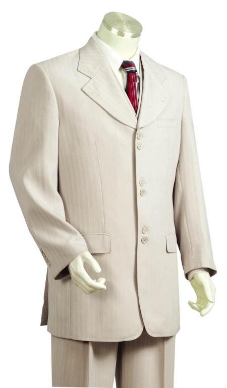 Mens 3 Piece Fashion Suit Taupe