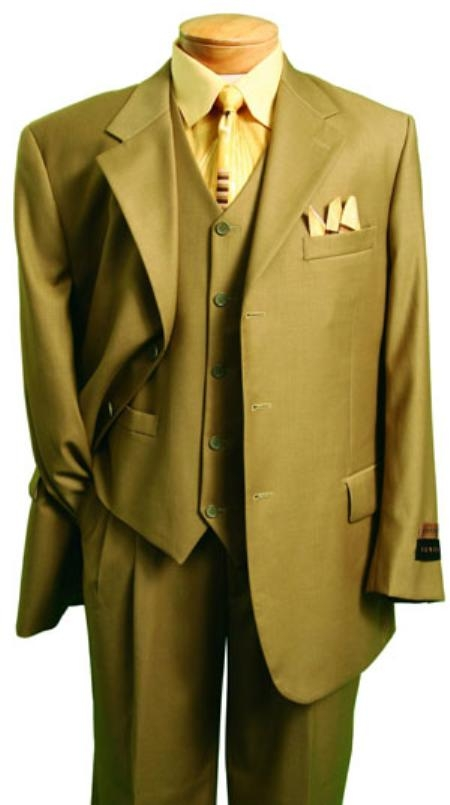 SKU#VP1156 Mens Fashion three piece suit in Super 150s Luxurious Wool Feel British Khaki