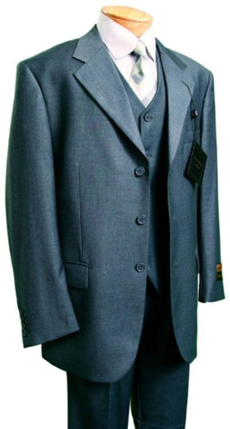 SKU#VS2799 Mens Fashion three piece suit in Super 150s Luxurious Wool Feel Heather Grey