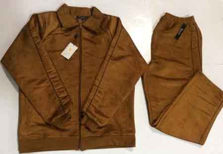 Men's Fashion Suede Feel Long Sleeve 100% Polyester Tobacco Jogging Jacket With Pant