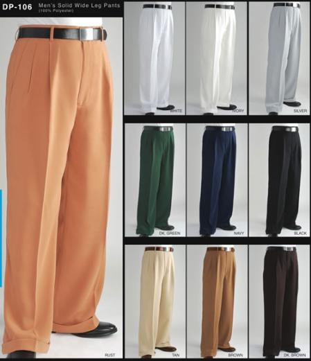 Mens Wide Leg Dress Slacks