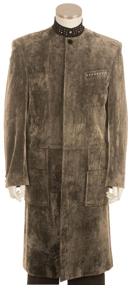 SKU#HL8124 Mens Fashionable Taupe Long Zoot Suit 45 Long Jacket EXTRA LONG JACKET Maxi Very Long
