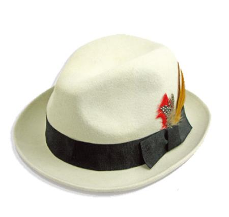 Buy P-7825 New Men's 100% Wool Fedora Trilby Mobster Hat White