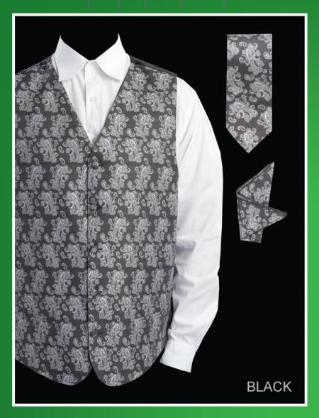 Men's 4 Piece Groomsmen Dress Tuxedo Wedding Vest ~ Waistcoat ~ Waist coat Set (Bow Tie, Neck Tie, Hanky) - P A I S L E Y Jacquard Black