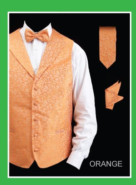 Mens 4 Piece Groomsmen Dress Tuxedo Wedding Vest  Set (Bow Tie, Neck Tie, Hanky) - Lapelled Groomsmen Vest  Orange