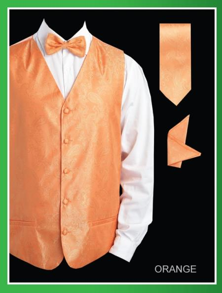 Mens 4 Piece Groomsmen Dress Tuxedo Wedding Vest ~ Waistcoat ~ Waist coat  Set (Bow Tie, Neck Tie, Hanky) - Shiny P A I S L E Y Jacquard Orange