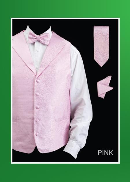 Men's 4 Piece Groomsmen Dress Tuxedo Wedding Vest ~ Waistcoat ~ Waist coat  Set (Bow Tie, Neck Tie, Hanky) - Lapelled Groomsmen Vest ~ Waistcoat ~ Waist coat  Pink