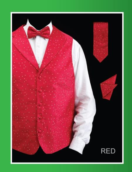 SKU#GAM3 Mens 4 Piece Vest Set (Bow Tie, Neck Tie, Hanky) - Lapelled Vest Red