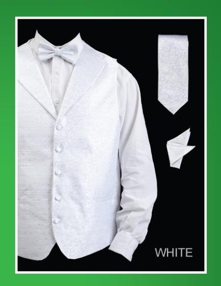 Men's 4 Piece Groomsmen Dress Tuxedo Wedding Vest ~ Waistcoat ~ Waist coat  Set (Bow Tie, Neck Tie, Hanky) - Lapelled Groomsmen Vest ~ Waistcoat ~ Waist coat  White