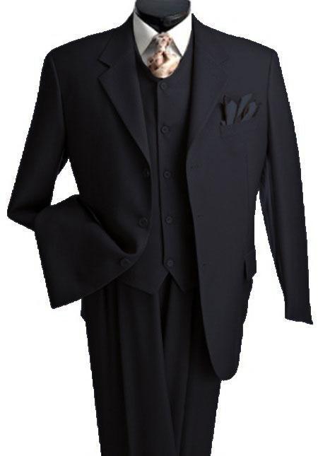 Mens 3 Piece Premium Fine Black three piece suit