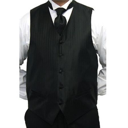 Mens Black Four-piece Dress Tuxedo Wedding Vest ~ Waistcoat ~ Waist coat Set Buy 10 of same color Tie For $25 Each