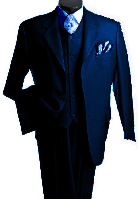 Mens 3 Piece Premium Fine Drak Blue three piece suit
