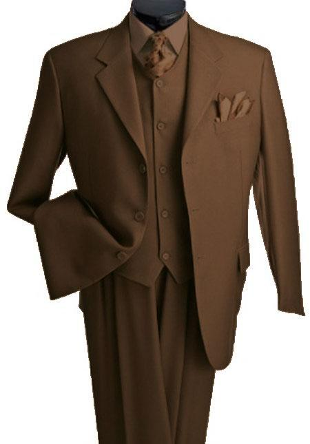 Mens 3 Piece Vested 3 Buttons Brown Three Piece Suit Side Vent Pleated Pants